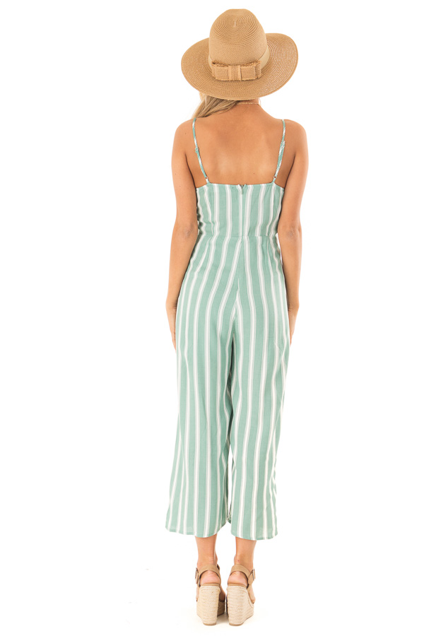 8022af9dd58 ... Sage and Off White Striped Cropped Jumpsuit with Waist Tie back full  body ...