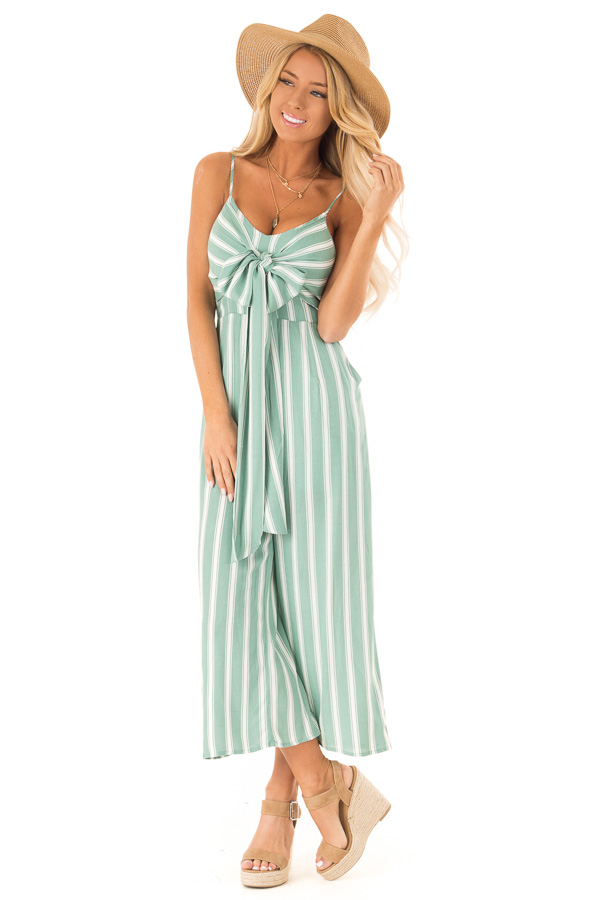 1bc9fb35ae51 ... Sage and Off White Striped Cropped Jumpsuit with Waist Tie front full  body ...