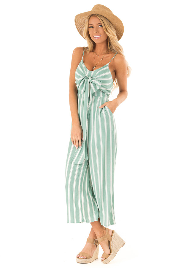 49981500821 Sage and Off White Striped Cropped Jumpsuit with Waist Tie front full body