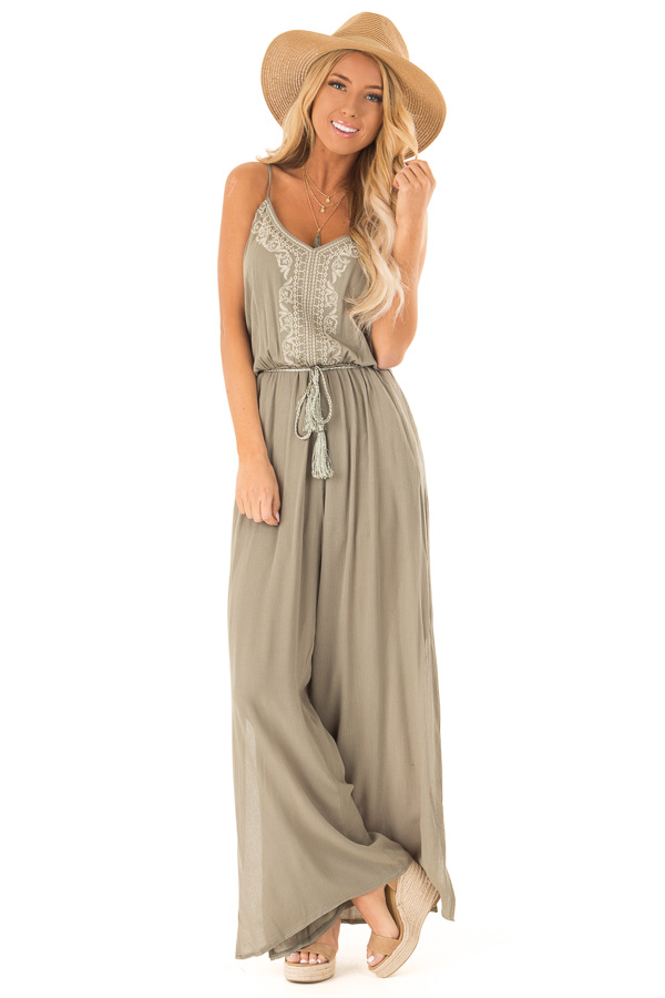 544ad2d77d9 Sage Wide Leg Jumpsuit with Embroidered Detail and Leg Slits front full body