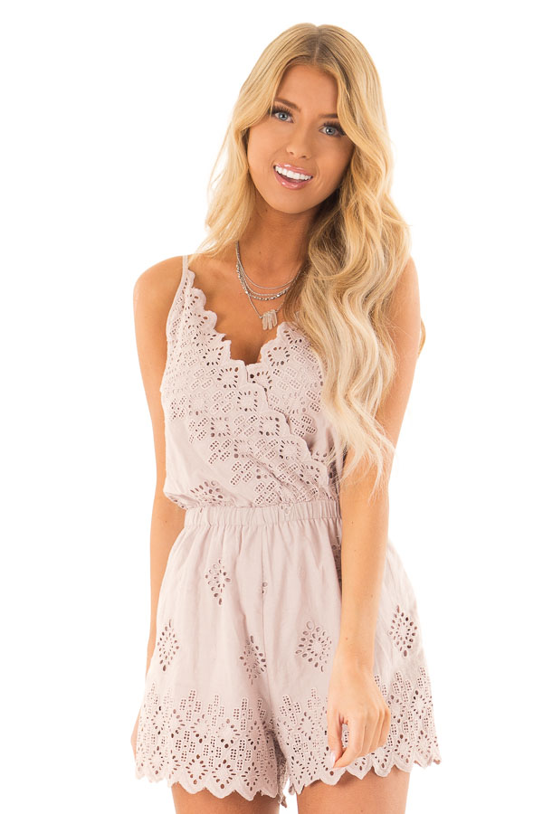 Taupe Blush V Neck Sleeveless Romper with Eyelet Detail front close up