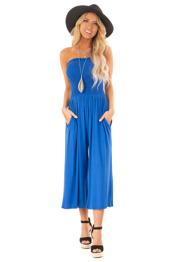 Cobalt Blue Strapless Smocked Jumpsuit with Wide Cropped Leg front full body