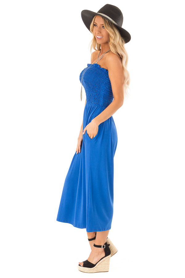 Cobalt Blue Strapless Smocked Jumpsuit with Wide Cropped Leg side full body