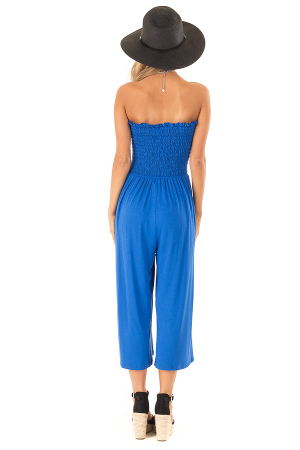 Cobalt Blue Strapless Smocked Jumpsuit with Wide Cropped Leg back full body