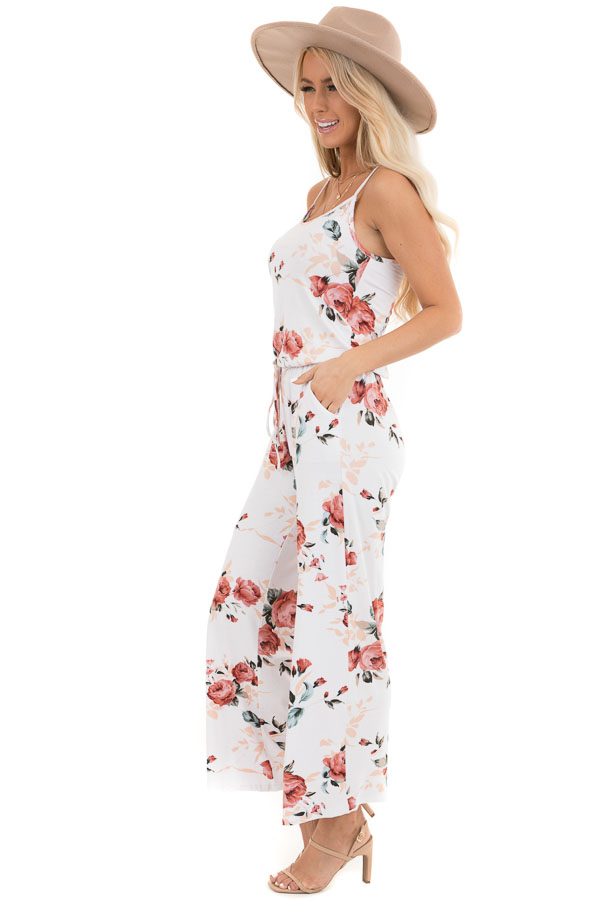 Ivory and Blush Floral Print Jumpsuit with Waist Tie side full body