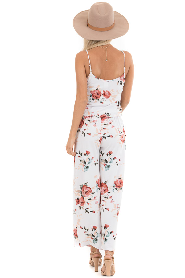 Ivory and Blush Floral Print Jumpsuit with Waist Tie back full body