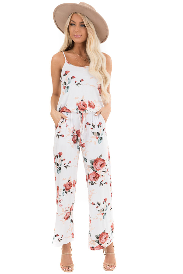 Ivory and Blush Floral Print Jumpsuit with Waist Tie front full body