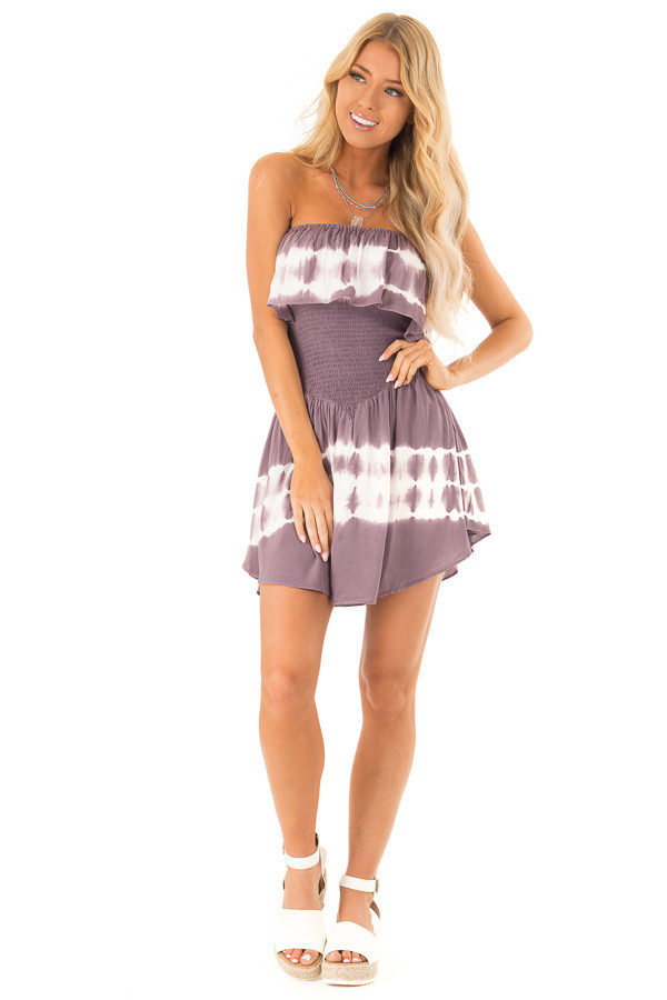 3bdc17f37a1c ... Plum Ruffle Tube Romper with Smocked Waist and White Tie Dye front full  body ...