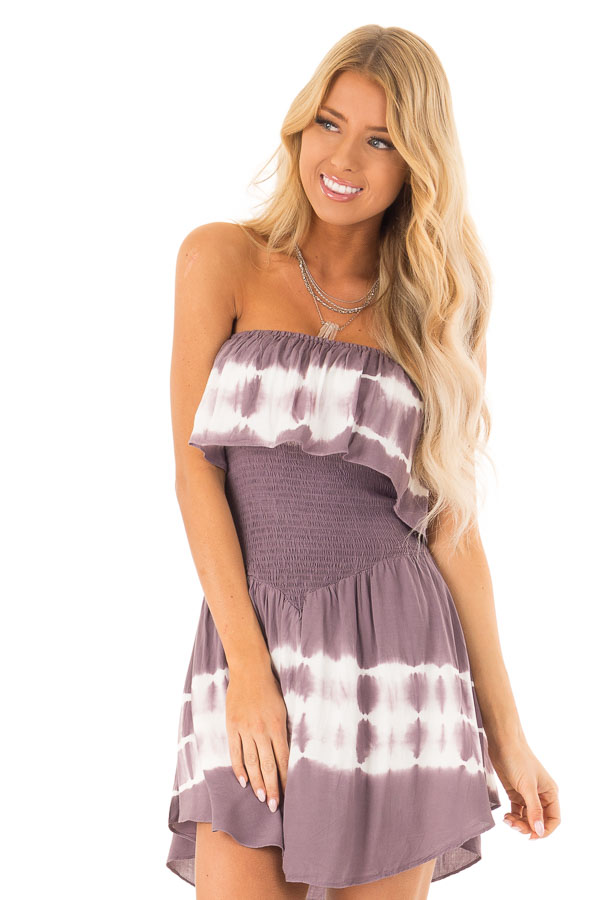 ac76d59ced26 Plum Ruffle Tube Romper with Smocked Waist and White Tie Dye front close up