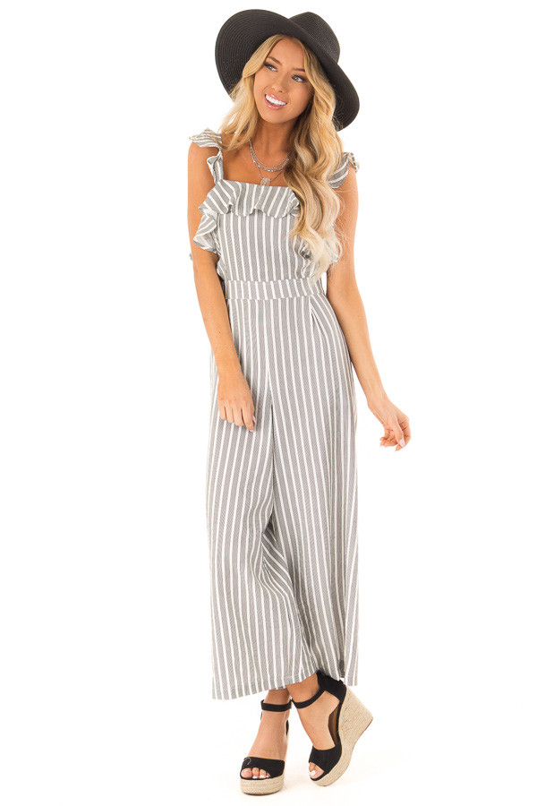 Black and Ivory Striped Ruffled Jumpsuit with Side Cutouts front full body