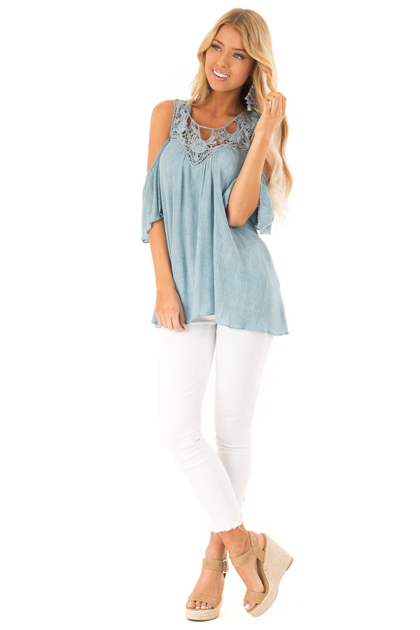 592b6725dce81b ... Vintage Sky Blue Cold Shoulder Top with Lace Detail front full body ...