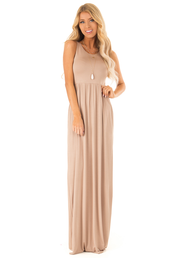 9aceab2676bf Light Mocha Racerback Tank Maxi Dress with Pockets - Lime Lush Boutique