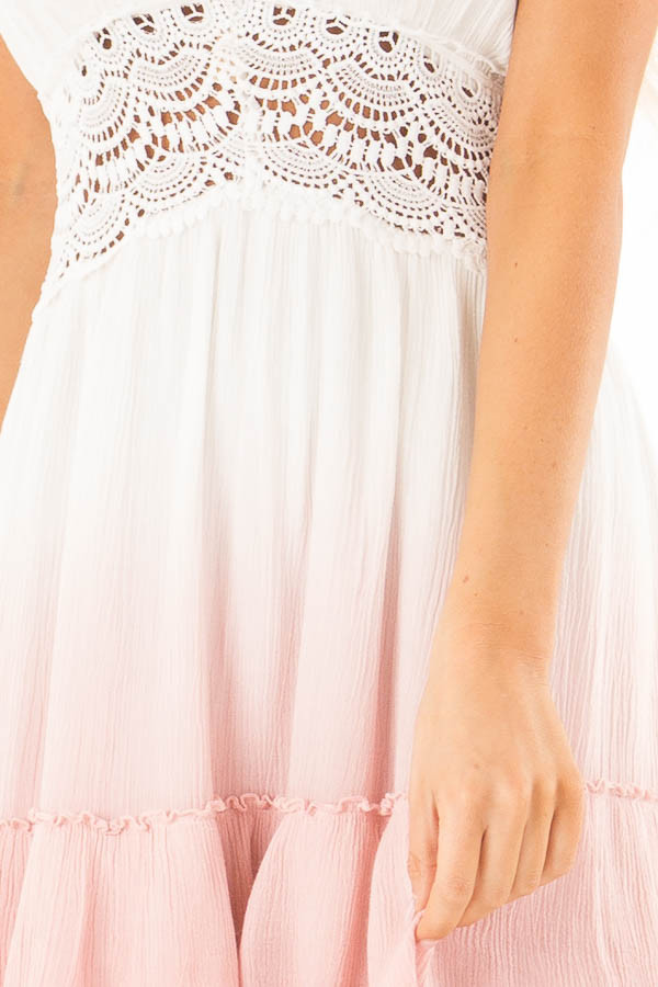 Dusty Pink and Off White Ombre Open Back Mini Dress detail