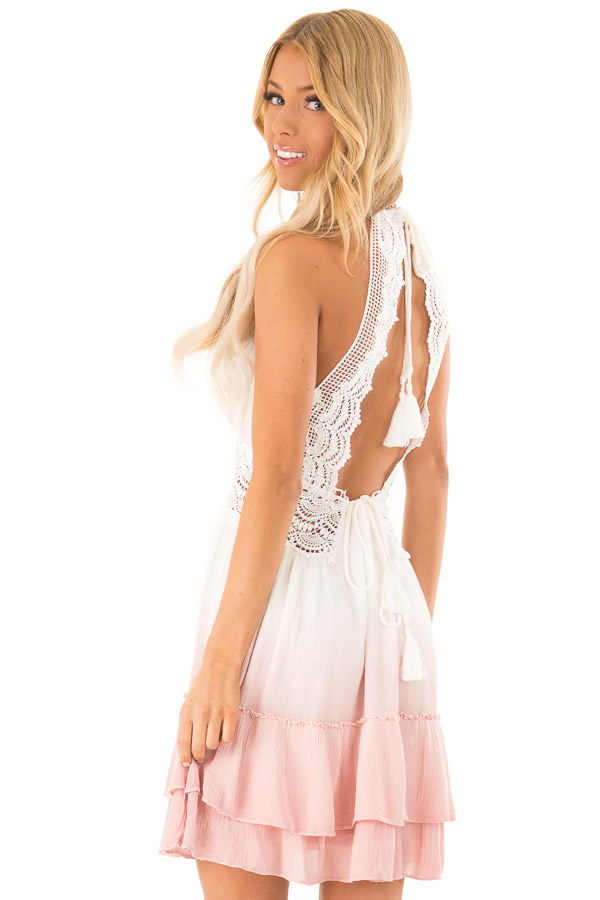 Dusty Pink and Off White Ombre Open Back Mini Dress back close up