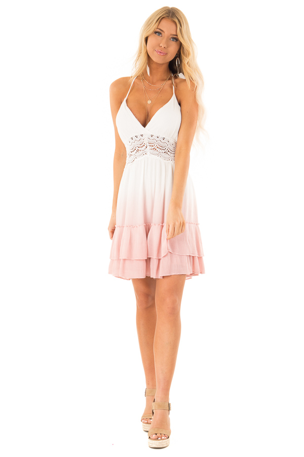 Dusty Pink and Off White Ombre Open Back Mini Dress front full body