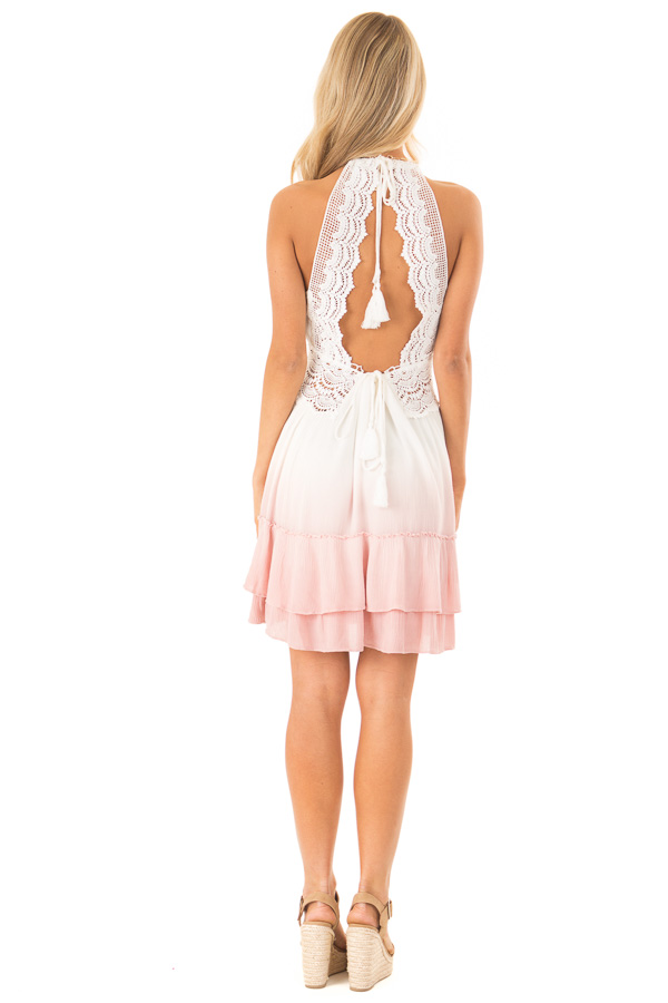 Dusty Pink and Off White Ombre Open Back Mini Dress back full body
