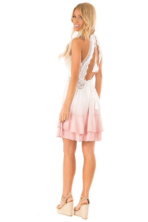Dusty Pink and Off White Ombre Open Back Mini Dress side full body