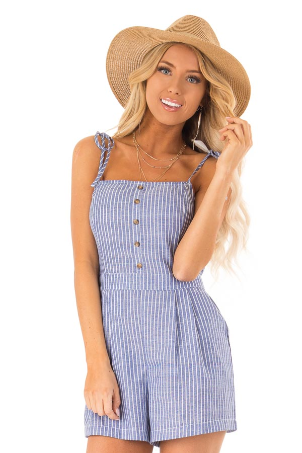 13069ac51417 Denim Blue and White Striped Romper with Button Detail - Lime Lush ...