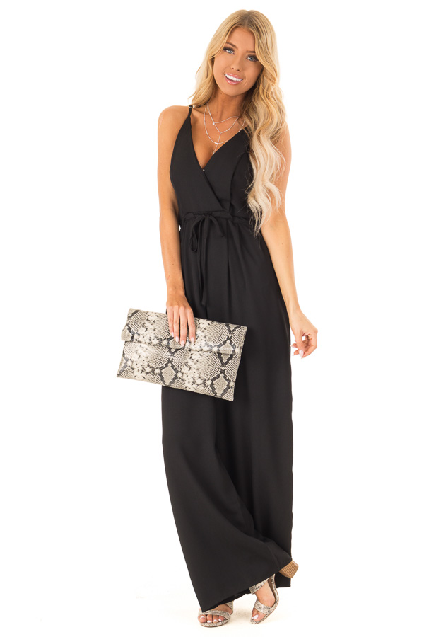 Deep Black Spaghetti Strap Jumpsuit with Waist Tie front full body