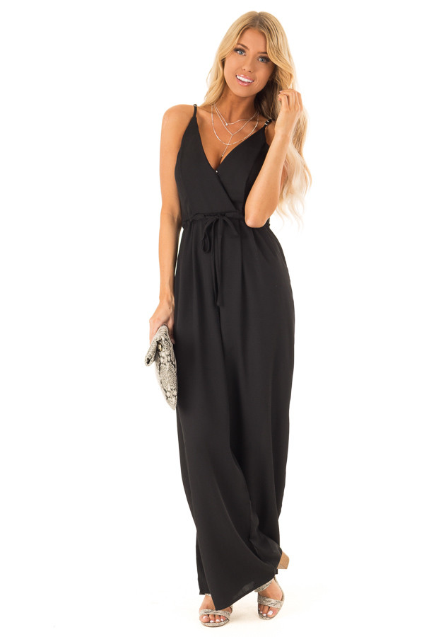 68fad945c64 ... Deep Black Spaghetti Strap Jumpsuit with Waist Tie front full body ...