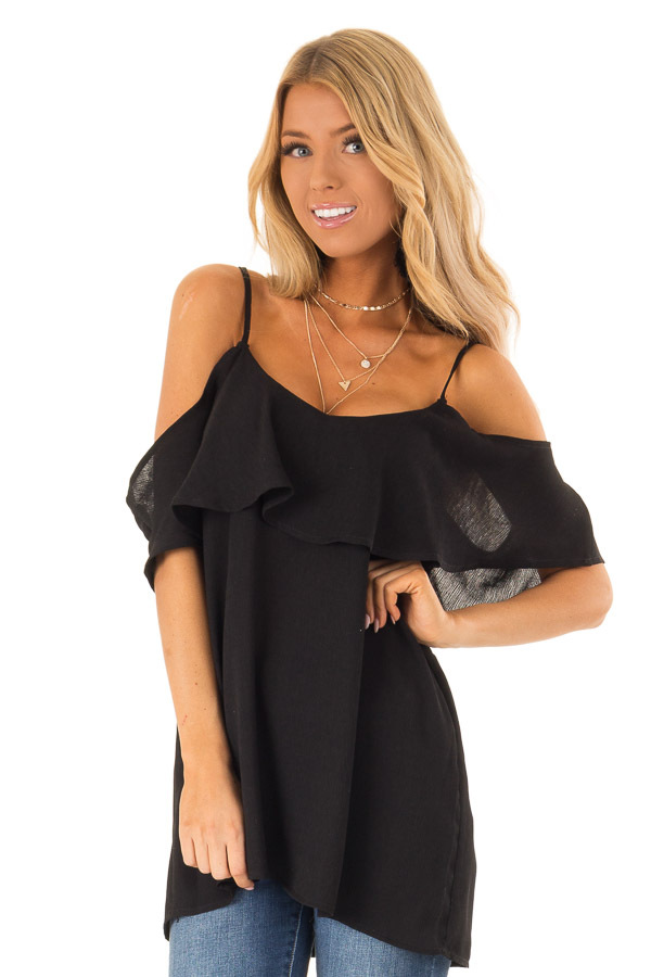 Ebony Cold Shoulder Tank Top with Ruffle Detail front close up