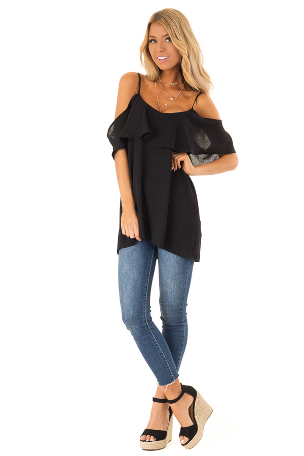 Ebony Cold Shoulder Tank Top with Ruffle Detail front full body