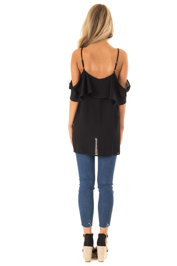 Ebony Cold Shoulder Tank Top with Ruffle Detail back full body