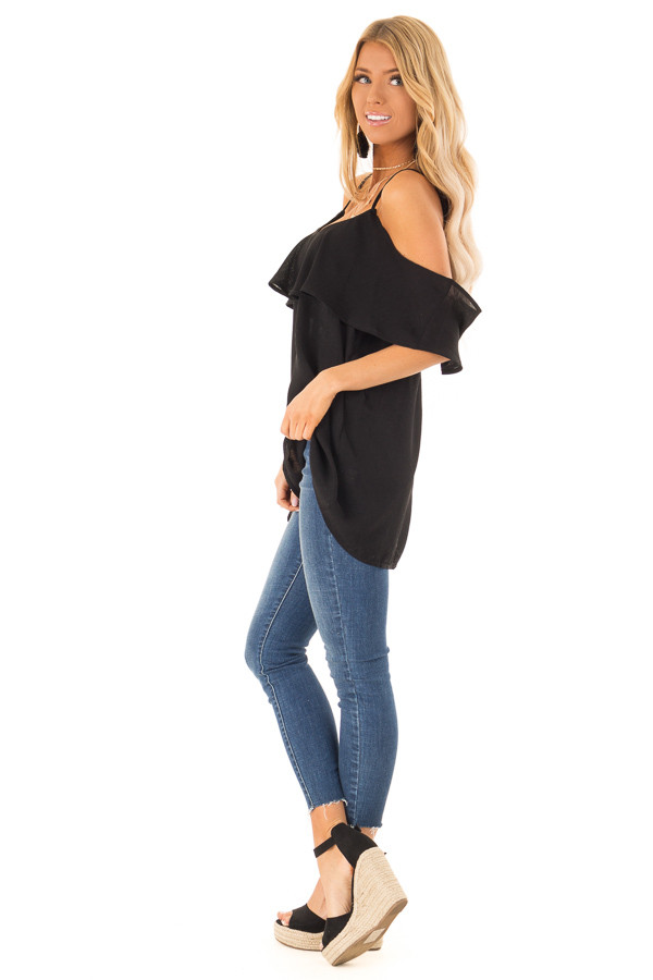 Ebony Cold Shoulder Tank Top with Ruffle Detail side full body