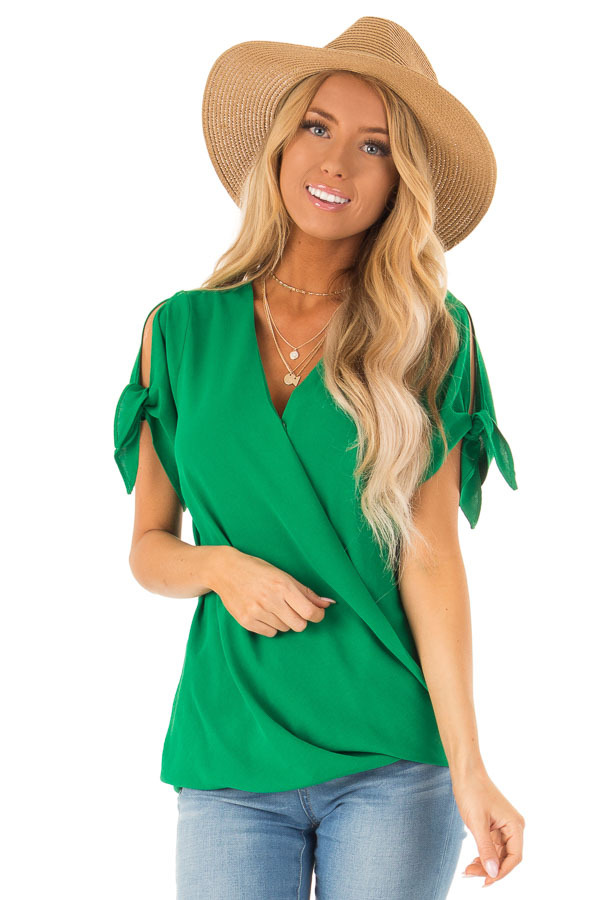 0a97f76c721f0 Kelly Green Surplice Short Sleeve Top with Tie Details - Lime Lush ...
