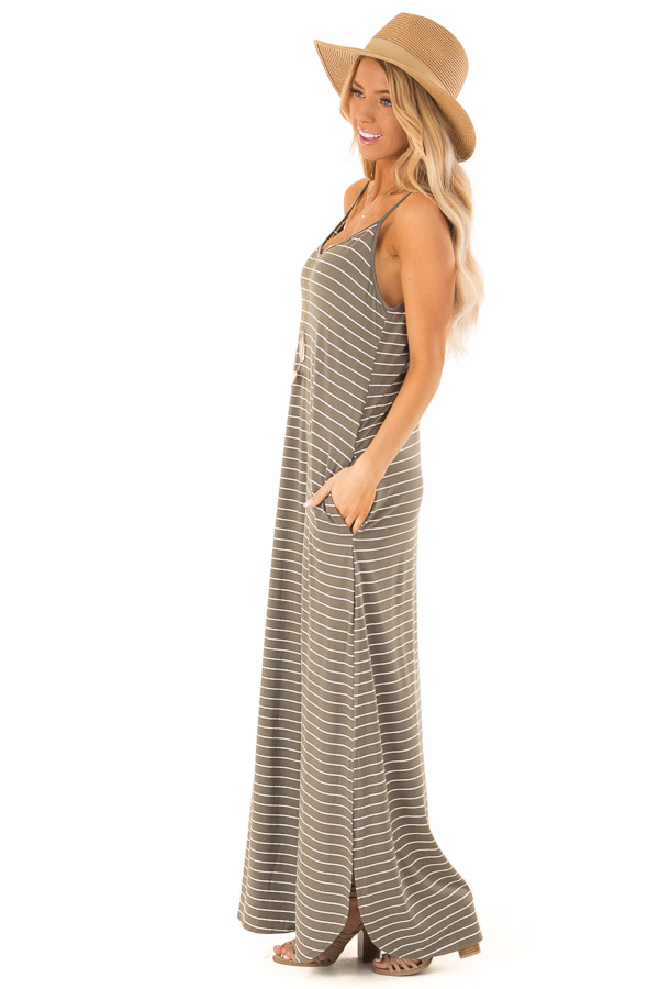 Dusty Olive and Ivory Striped Maxi Dress with Side Slits side full body