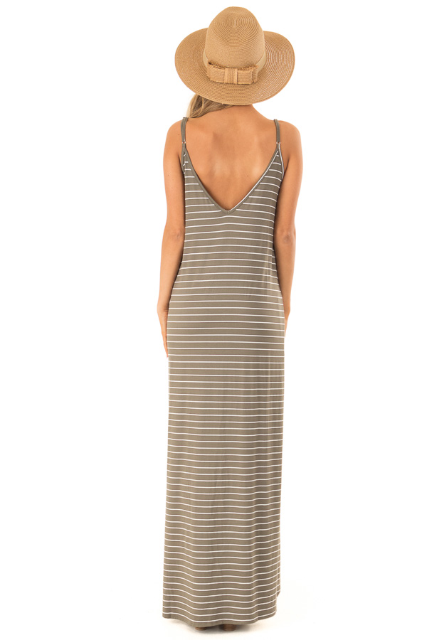 Dusty Olive and Ivory Striped Maxi Dress with Side Slits back full body