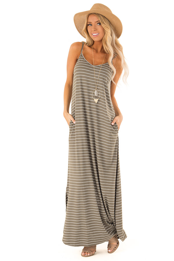 Dusty Olive and Ivory Striped Maxi Dress with Side Slits front full body