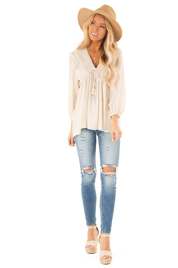 9ddc70ee591d02 ... Ivory Long Sleeve Peasant Top with Lace and Tie Details front full body  ...