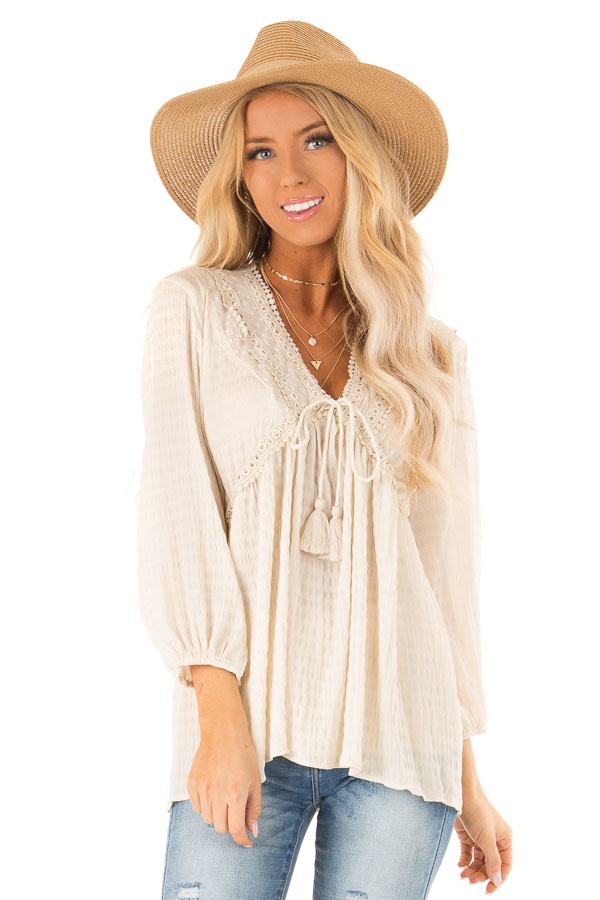 9b0d4dfd95b9df Ivory Long Sleeve Peasant Top with Lace and Tie Details - Lime Lush ...