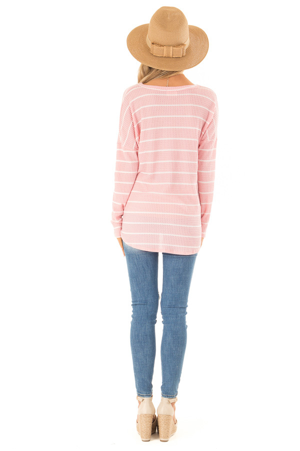 Bubblegum Pink and White Striped Waffle Knit Top with Tie back full body
