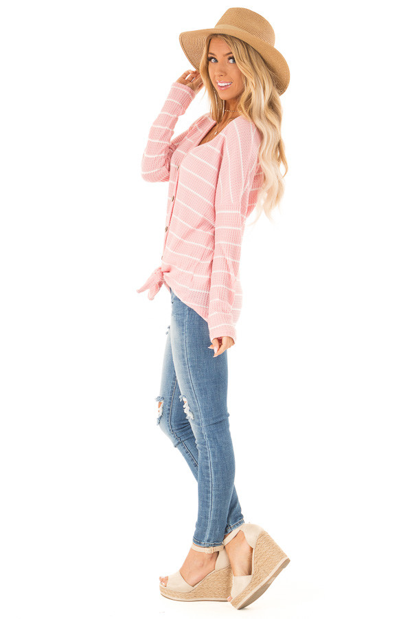 Bubblegum Pink and White Striped Waffle Knit Top with Tie side full body