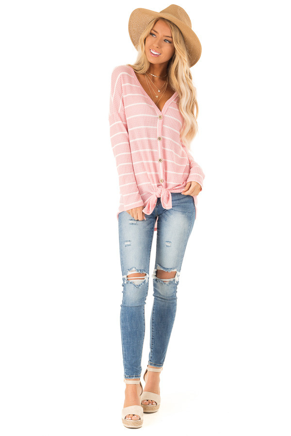 Bubblegum Pink and White Striped Waffle Knit Top with Tie front full body