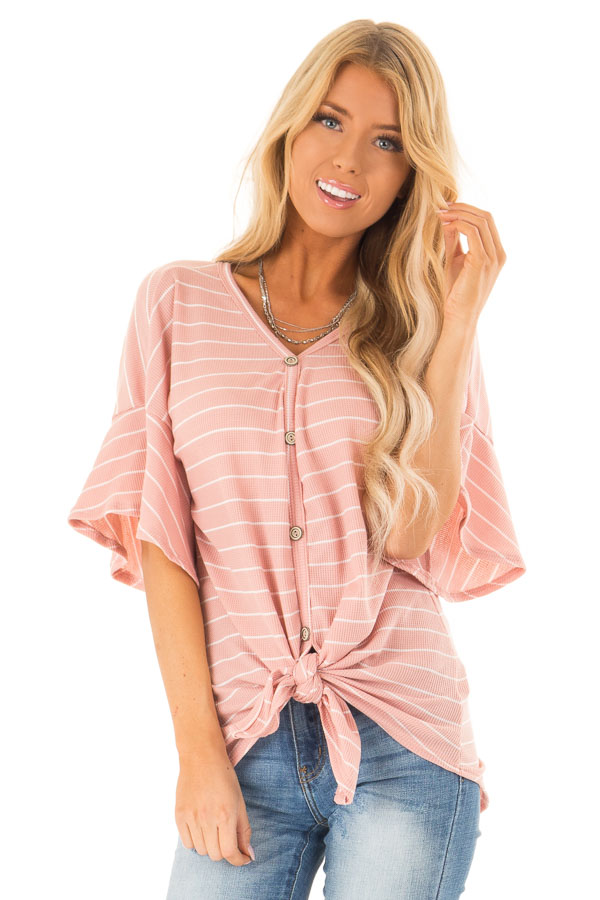 Blush and Ivory Striped Button Up Top with Front Tie Detail front close up