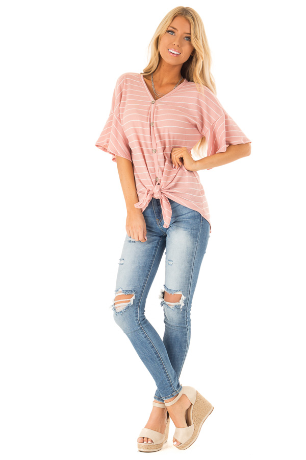 Blush and Ivory Striped Button Up Top with Front Tie Detail front full body