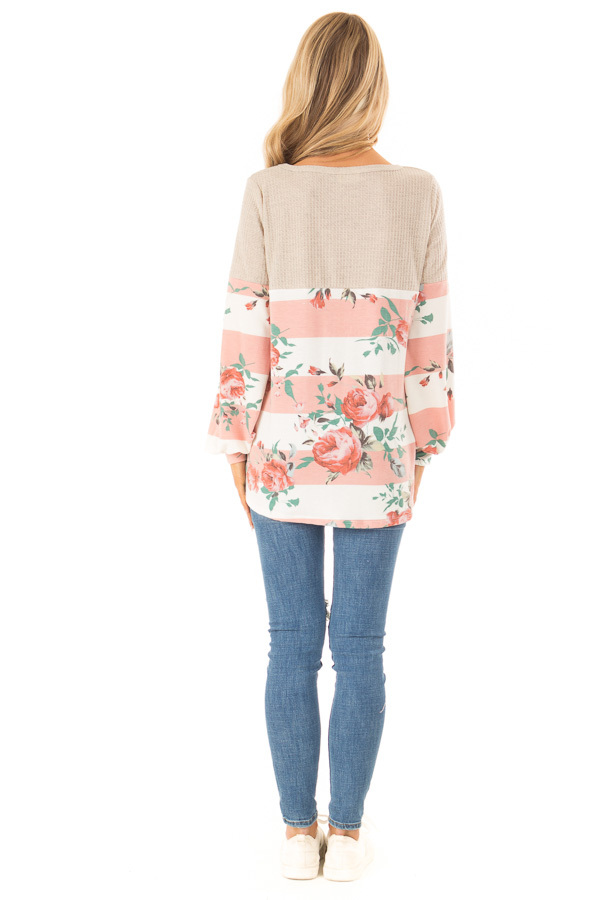 Floral Striped Terry Knit with Beige Contrast Top back full body