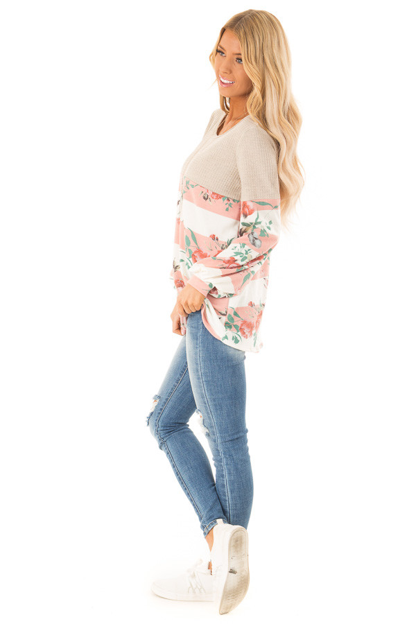 Floral Striped Terry Knit with Beige Contrast Top side full body