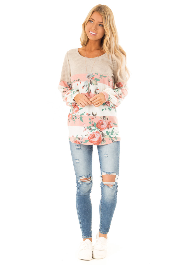 Floral Striped Terry Knit with Beige Contrast Top front full body