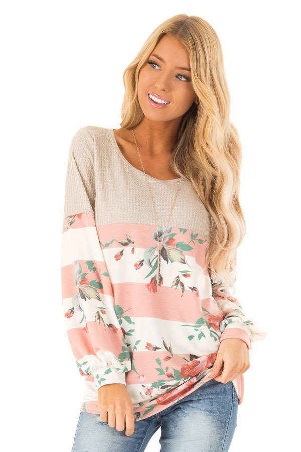 Floral Striped Terry Knit with Beige Contrast Top front close up