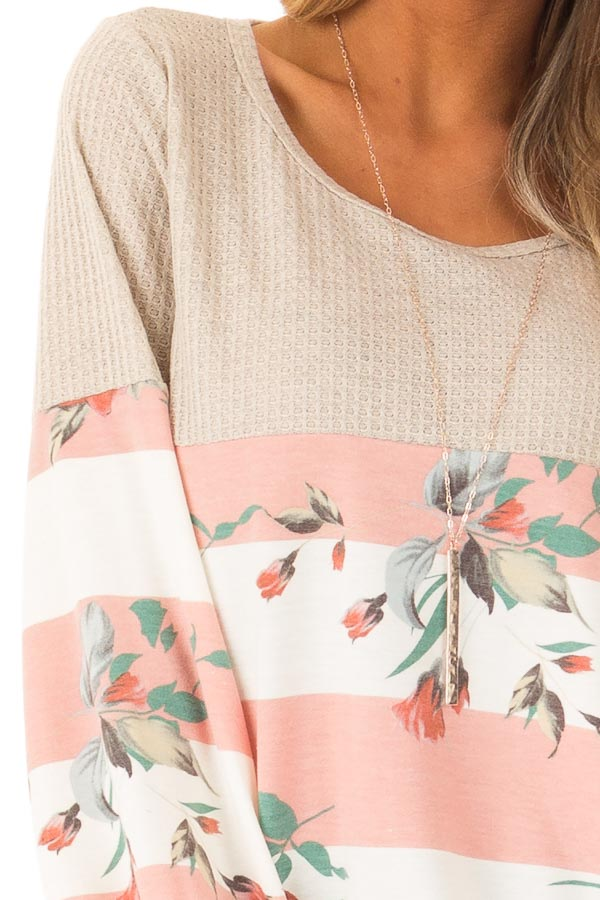 Floral Striped Terry Knit with Beige Contrast Top detail