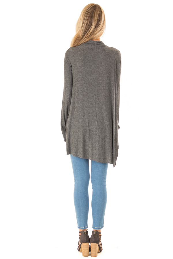 Ash Turtleneck Top with Chest Cutout and Handkerchief Hem back full body