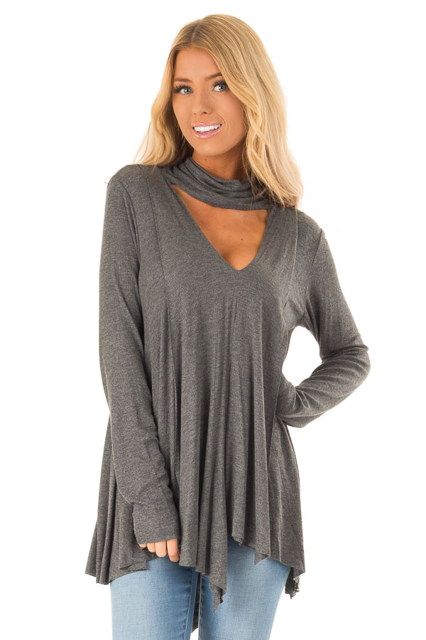 Ash Turtleneck Top with Chest Cutout and Handkerchief Hem front close up