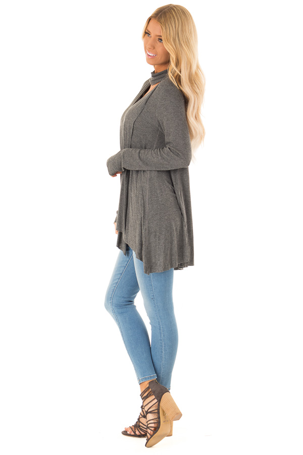 Ash Turtleneck Top with Chest Cutout and Handkerchief Hem side full body