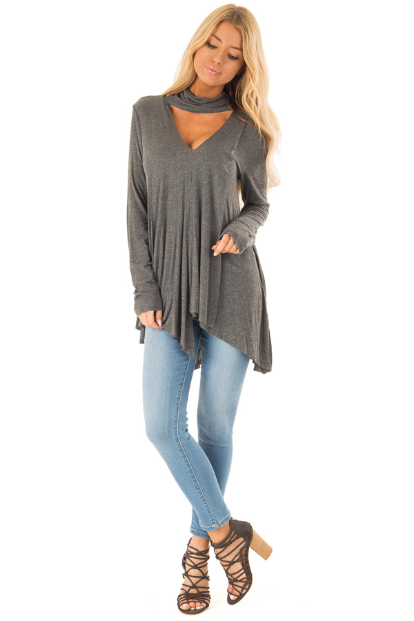 Ash Turtleneck Top with Chest Cutout and Handkerchief Hem front full body