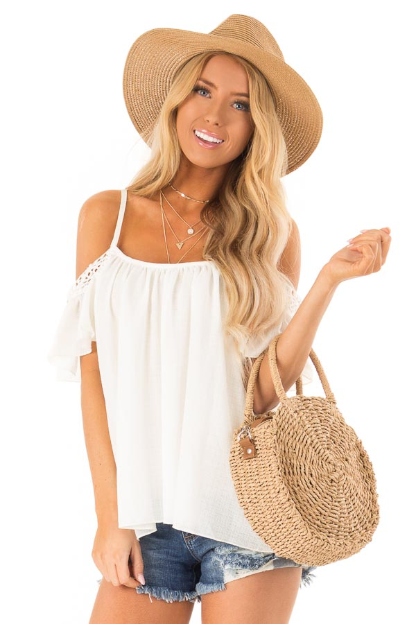 Ivory Off the Shoulder Top with Lace Detail front close up