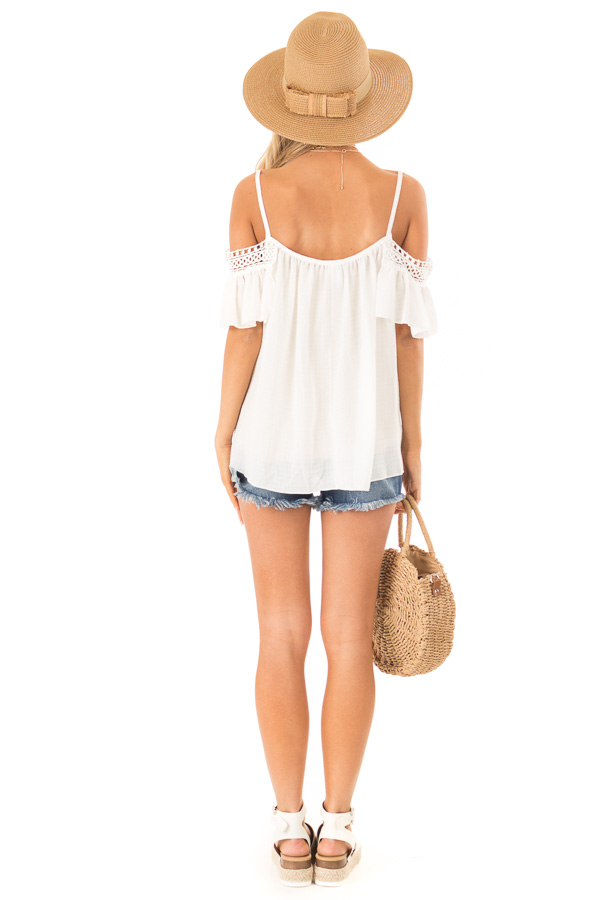 Ivory Off the Shoulder Top with Lace Detail back full body